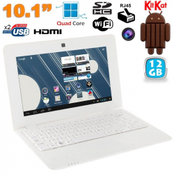 Mini PC Android ultra portable netbook 10 pouces WiFi 12 Go Blanc