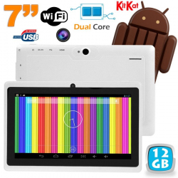 Tablette tactile Android 4.4 KitKat 7 pouces Dual Core 12 Go Blanc