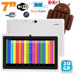 Tablette tactile Android 4.4 KitKat 7 pouces Dual Core 20 Go Blanc