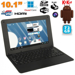 Mini PC Android 4.4 Netbook Ultra portable 10 pouces WiFi 72Go Noir - Mini PC Android - www.yonis-shop.com