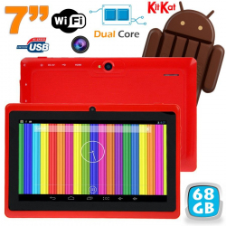 Tablette tactile Android 4.4 KitKat 7 pouces Dual Core 68 Go Rouge