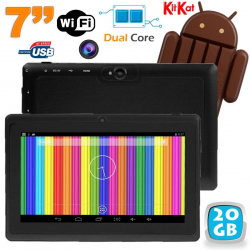 Tablette tactile Android 4.4 KitKat 7 pouces Dual Core 20 Go Noir