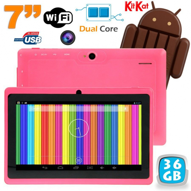 Tablette tactile Android 4.4 KitKat 7 pouces Dual Core 36 Go Rose - Tablette tactile 7 pouces - www.yonis-shop.com
