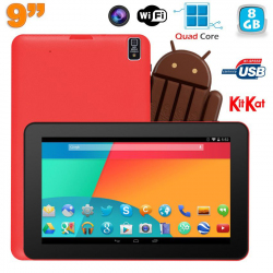 Tablette tactile 9 pouces Android 4.4 Bluetooth Quad Core 8Go Rouge - Tablette tactile 9 pouces - www.yonis-shop.com