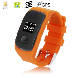 Montre GPS secours enfant ecran LED bouton SOS micro espion Orange