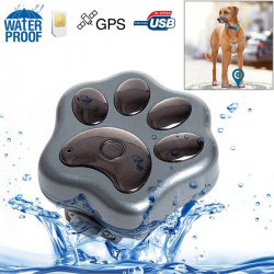 Mini traceur GPS chien chat waterproof collier micro espion GSM Gris