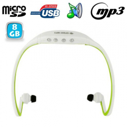 Casque sport sans fil lecteur MP3 Micro SD Running vélo vert 8 Go Casque sport YONIS