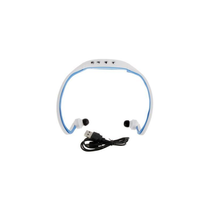 casque sport sans fil lecteur mp3 audio running v lo bleu 32 go. Black Bedroom Furniture Sets. Home Design Ideas