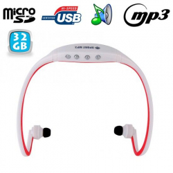 Casque sport sans fil lecteur MP3 audio Running vélo Rouge 32 Go - www.yonis-shop.com