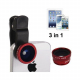 Objectif Fisheye grand angle macro 3 en 1 smartphone universel Rouge - Accessoires Universels - www.yonis-shop.com