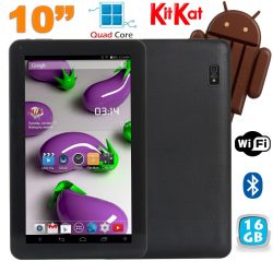 Tablette 10 pouces Quad Core Android 4.4 WiFi Bluetooth 16Go Noir