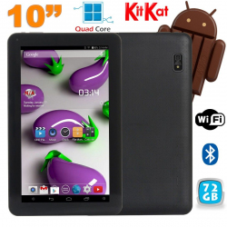 Tablette 10 pouces Quad Core Android 4.4 WiFi Bluetooth 72Go Noir