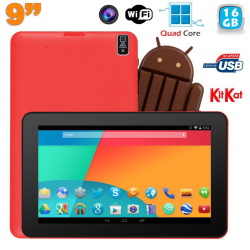 Tablette tactile 9 pouces Android 4.4 Bluetooth Quad Core 16Go Rouge