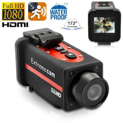 Caméra sport waterproof Full HD 1080p grand angle 170° Rouge Camera sport étanche YONIS