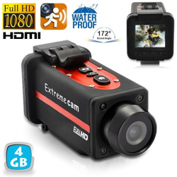 Caméra sport waterproof Full HD 1080p grand angle 170° Rouge 4Go