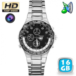 Montre caméra espion HD 720p vision nocturne MP3 16 Go chrome world