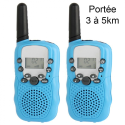 Talkie walkie 22 canaux push to talk écran LCD portée 3 à 5 km Bleu - Talkie-walkie - www.yonis-shop.com