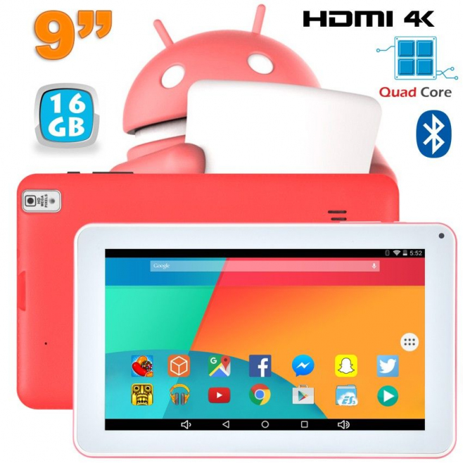 Tablette 9 pouces Android 6.0 Tactile 1,5GHz 1Go RAM Rose 16Go