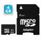 Carte mémoire Micro SD SDHC 4 Go GB classe 6 appareil photo smartphone - Carte mémoire Micro SD - www.yonis-shop.com