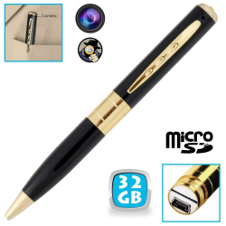 Stylo camera espion mini appareil photo caché USB Micro SD 32 Go