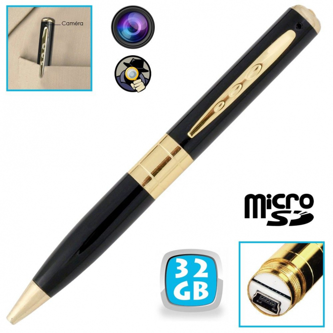 Stylo camera espion mini appareil photo caché USB Micro SD 32 Go - Stylo espion - www.yonis-shop.com