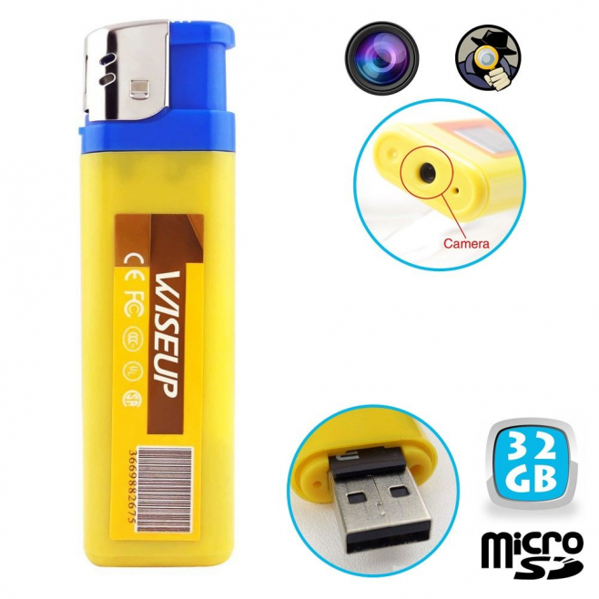 Briquet camera espion mini appareil photo USB Micro SD 32 Go - Briquet caméra - www.yonis-shop.com
