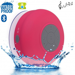 Mini enceinte Bluetooth ronde kit main libre ventouse waterproof Rose - Enceinte waterproof - www.yonis-shop.com