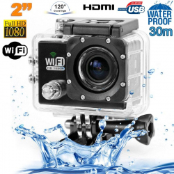 Camera sport wifi étanche caisson waterproof 12 MP Full HD Noir