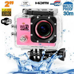 Camera sport wifi étanche caisson waterproof 12 MP Full HD Rose