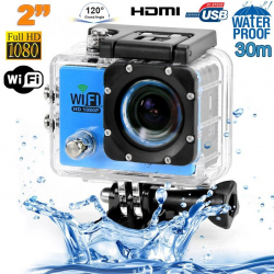 Camera sport wifi étanche caisson waterproof 12 MP Full HD Bleu