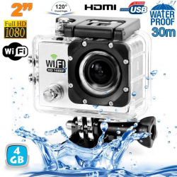 Camera sport wifi étanche caisson waterproof 12 MP Full HD Blanc 4Go