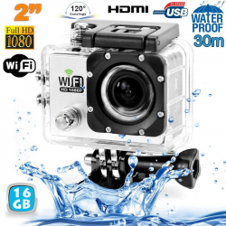 Camera sport wifi étanche caisson waterproof 12 MP Full HD Blanc 16Go - Camera sport étanche - www.yonis-shop.com