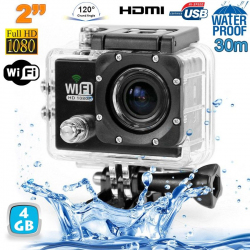 Camera sport wifi étanche caisson waterproof 12 MP Full HD Noir 4Go
