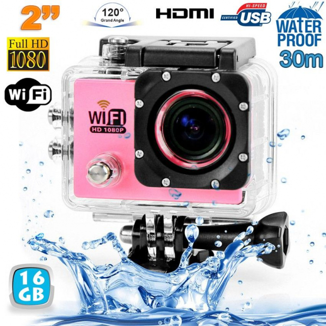 Camera sport wifi étanche caisson waterproof 12 MP Full HD Rose 16Go