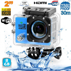 Camera sport wifi étanche caisson waterproof 12 MP Full HD Bleu 8Go