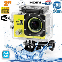 Camera sport wifi étanche caisson waterproof 12 MP Full HD Jaune 64 Go