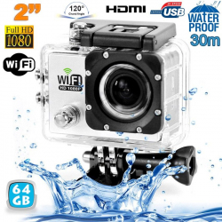 Camera sport wifi étanche caisson waterproof 12 MP Full HD Blanc 64Go