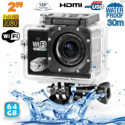 Camera sport wifi étanche caisson waterproof 12 MP Full HD Noir 64Go