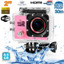 Camera sport wifi étanche caisson waterproof 12 MP Full HD Rose 64Go - www.yonis-shop.com