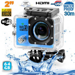 Camera sport wifi étanche caisson waterproof 12 MP Full HD Bleu 64Go