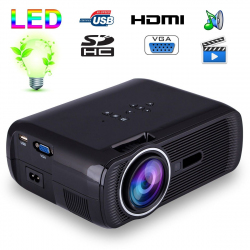 Mini vidéoprojecteur portable LED 1000 Lumens HD Carte SD USB Noir - yonis-shop.com