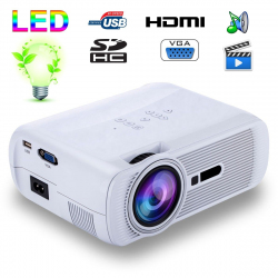 Mini vidéoprojecteur portable LED 1000 Lumens HD Carte SD USB Blanc - yonis-shop.com