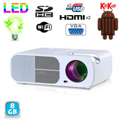 Mini Vidéoprojecteur Android 4.4 WiFi LED 2600 Lumens 110W Blanc 8Go - yonis-shop.com
