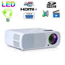 Mini vidéoprojecteur 2600 lumens 110W home cinema HDMI USB Blanc