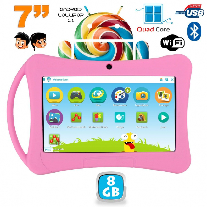 tablette enfant 7 pouces android 5 1 bluetooth quad core. Black Bedroom Furniture Sets. Home Design Ideas