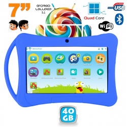 Tablette enfant 7 pouces Android 5.1 Bluetooth 1Go RAM Quad Core 40Go Bleu - Tablette tactile enfant - www.yonis-shop.com