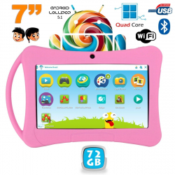 Tablette enfant 7 pouces Android 5.1 Bluetooth Quad Core 72Go Rose