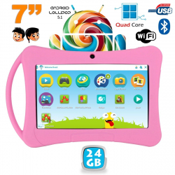 Tablette enfant 7 pouces Android 5.1 Bluetooth Quad Core 24Go Rose