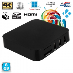 Android TV Box Kodi média player 4K Smart TV 3D Mini PC WiFi 8Go Noir - www.yonis-shop.com