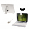 Housse clavier universelle tablette tactile 7 pouces support Blanc